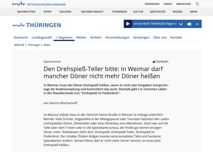 Den Drehspieß-Teller bitte: In Weimar darf mancher Döner nicht mehr Döner heißen